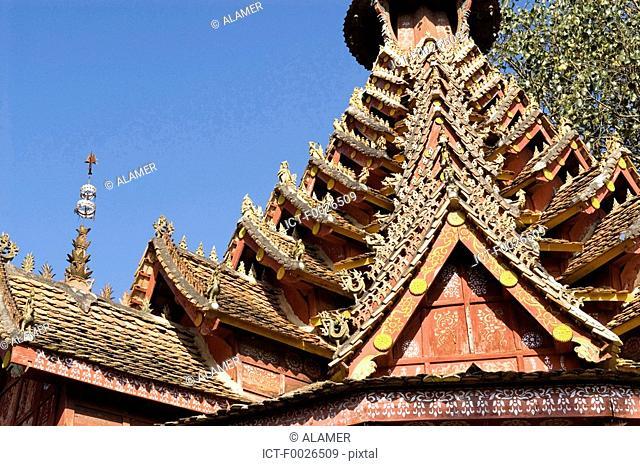 China, Yunnan, Xishuangbanna, near Menghai, Jingzhen, Octagonal Pavilion
