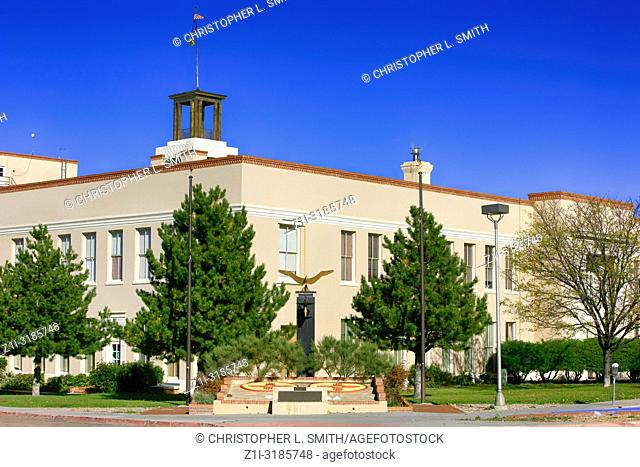 The Bataan Memorial Building and Vietnam War Memorial in the Government district of Santa Fe, New Mexico USA