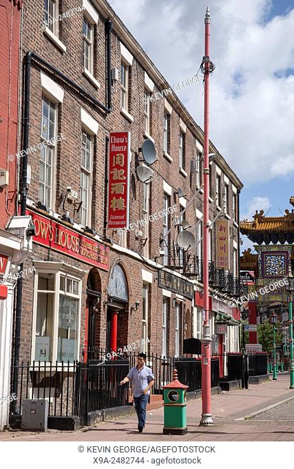 Shops and Restaurants in Nelson Street, Chinatown, Liverpool, England, UK