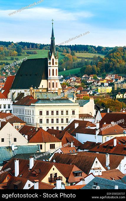 St. Vitus Church and cityscape Cesky Krumlov, Czech republic. Sunny autumn day