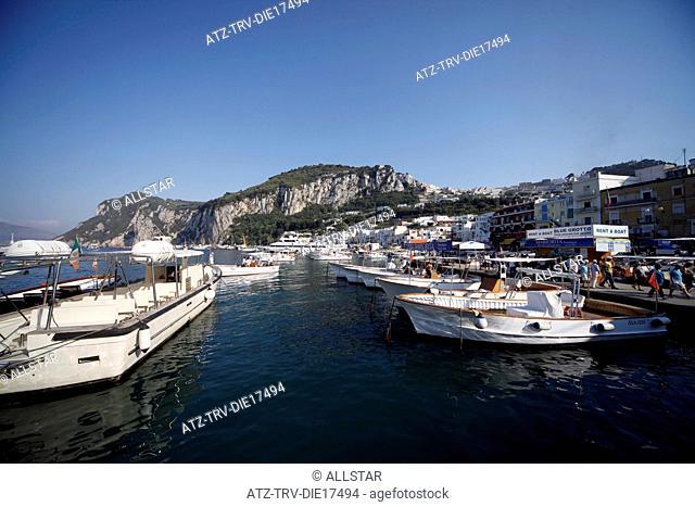 PLEASURE BOATS IN HARBOUR; MARINA GRANDE, ISLAND OF CAPRI, ITALY; 17/09/2011