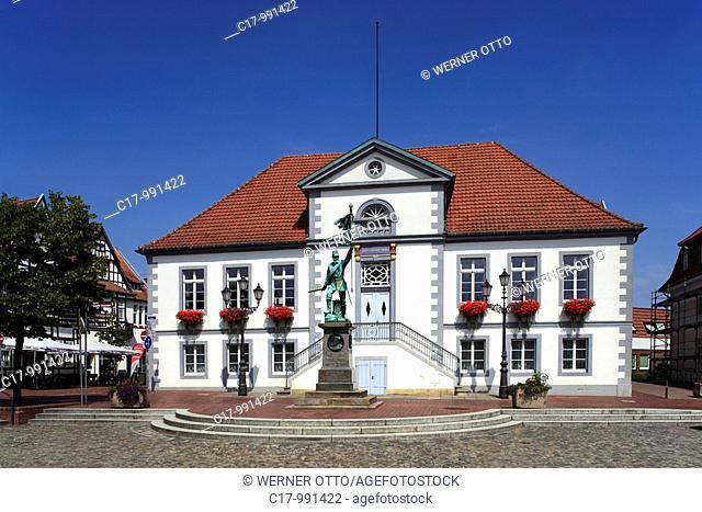 Germany, Quakenbrueck, Samtgemeinde Artland, Hase, Hase valley, Artland, Oldenburger Muensterland, Lower Saxony, market place, town hall, classicism