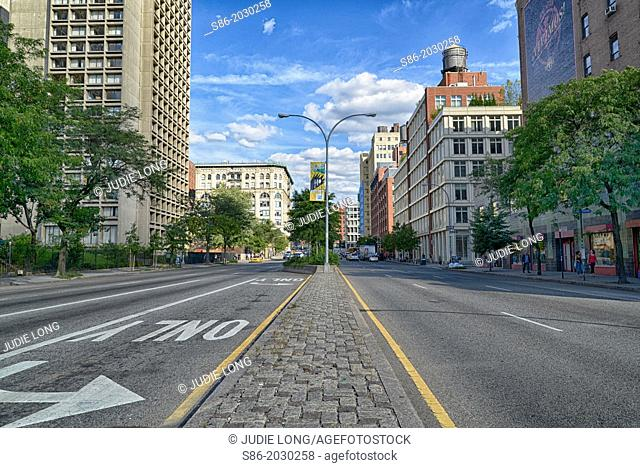 Looking East on Houston Street, Manhattan, New York City, the Dividing Line Between Greenwich Village and Soho