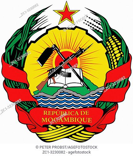 National coat of arms of the Republic of Mozambique