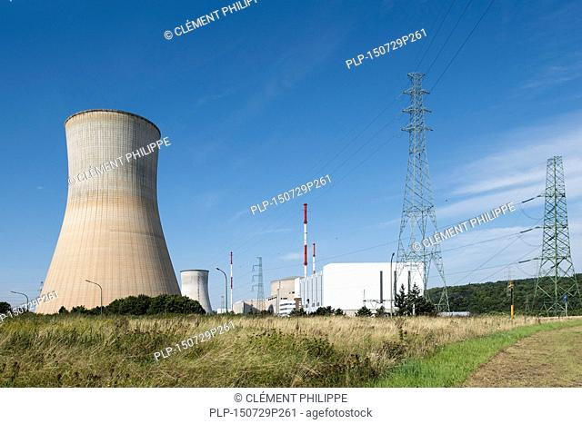 Cooling towers of the Tihange Nuclear Power Station at Huy / Hoei, Liège / Luik, Belgium