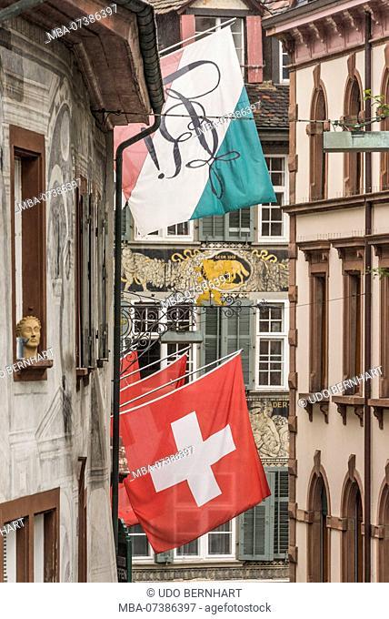 Alley Spalenberg, old town Grossbasel, Basel, Canton Basel-Stadt, Switzerland