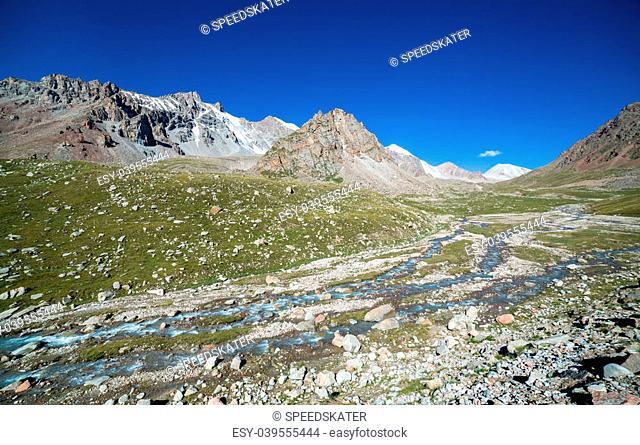 Landscape of mountain river in Tien Shan, Kyrgyzstan