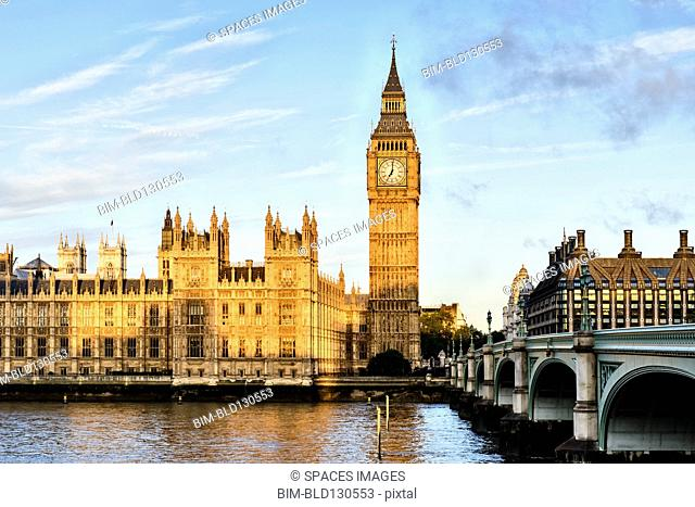 Sunrise shining on Big Ben, London, United Kingdom