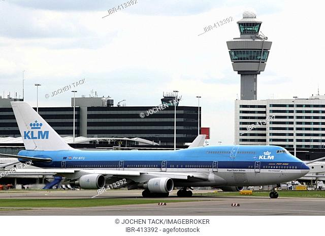 Amsterdam International Airport Schiphol with KLM airplane, Amsterdam, North Holland, The Netherlands