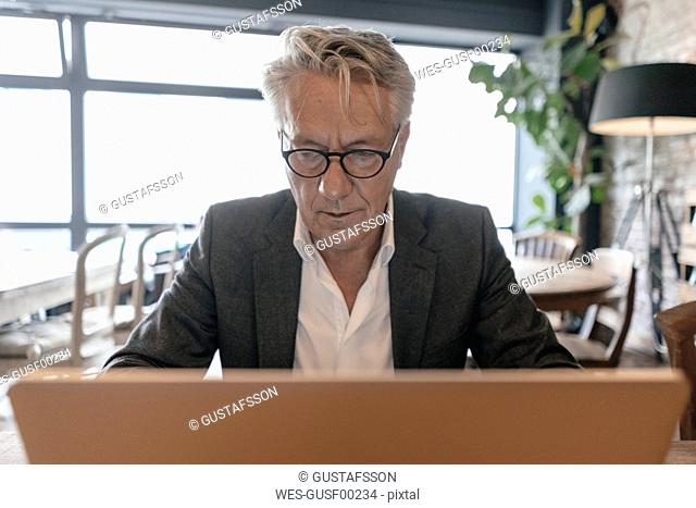 Senior businessman sitting in a cafe, using laptop