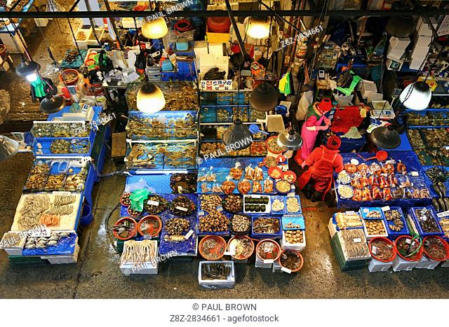 Stalls at Noryangjin Fish and Seafood Market in Seoul, Korea