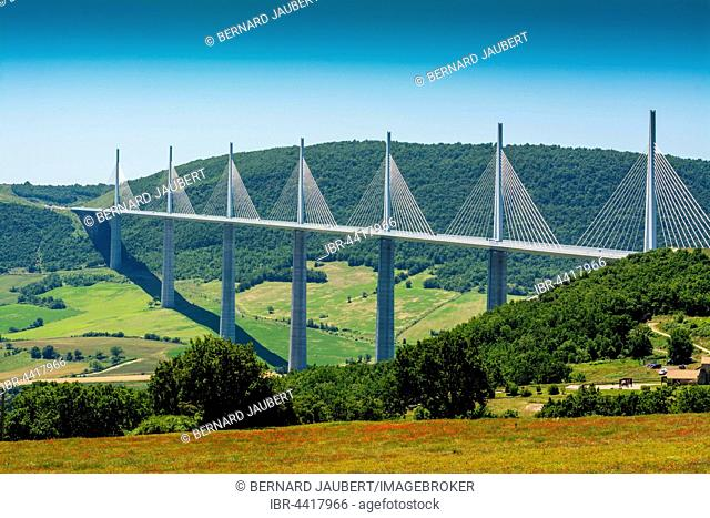 Millau Viaduct, A75 motorway, built by Michel Virlogeux and Norman Foster, located between Causses de Sauveterre and Causses du Larzac above Tarn River