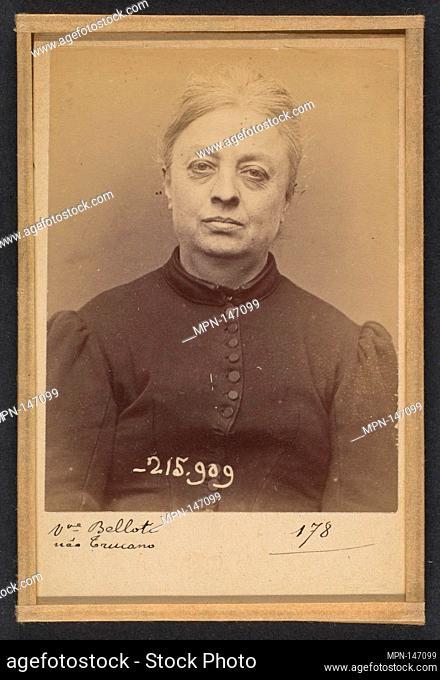 Trucano. Victorine (veuve Belloti). 54 ans, né à St Maurier (Italie). Chapelier. Vol anarchiste. 19/3/94. Artist: Alphonse Bertillon (French
