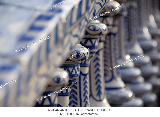 Detail of the railings of one of the four bridges located in the Plaza de España. María Luisa Park. Built for the 1929 Iberoamerican Exhibition by the Sevillian...