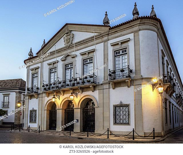 City Hall at dusk, Faro, Algarve, Portugal