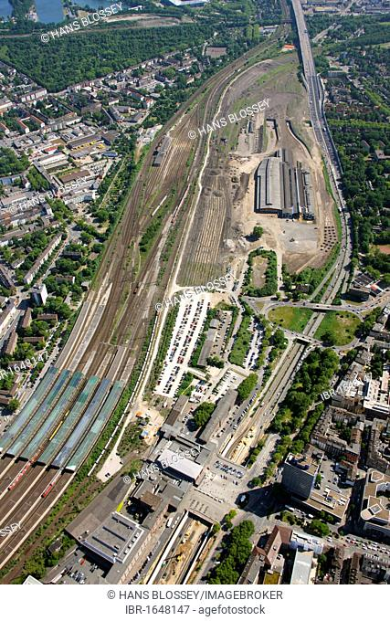 Aerial photo, event site of the Love Parade 2010, Duisburg railway freight station, Duisburg, Ruhr Area, North Rhine-Westphalia, Germany, Europe