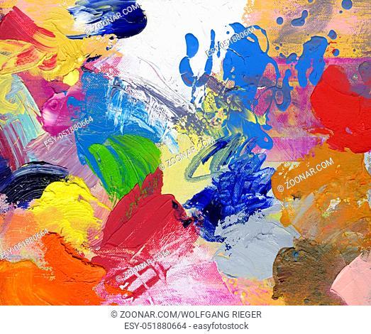 Dicke Öl- und Acrylfarbe gemalt mit Pinsel und Spachtel auf Hartfaserplatte. Verschiedene bunte Farbtöne, lasierend und opak
