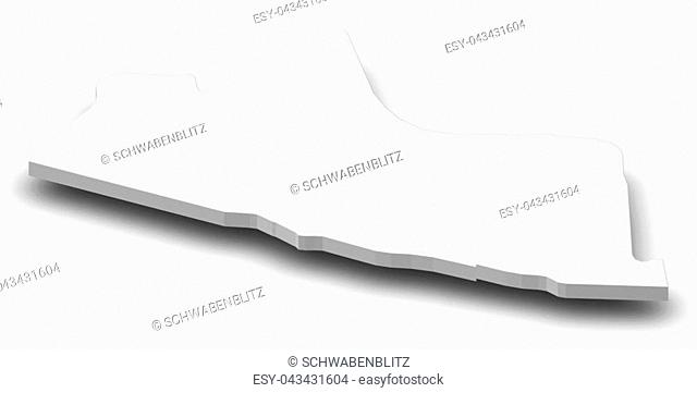 Map of Yogyakarta, a province of Indonesia, as a gray piece with shadow