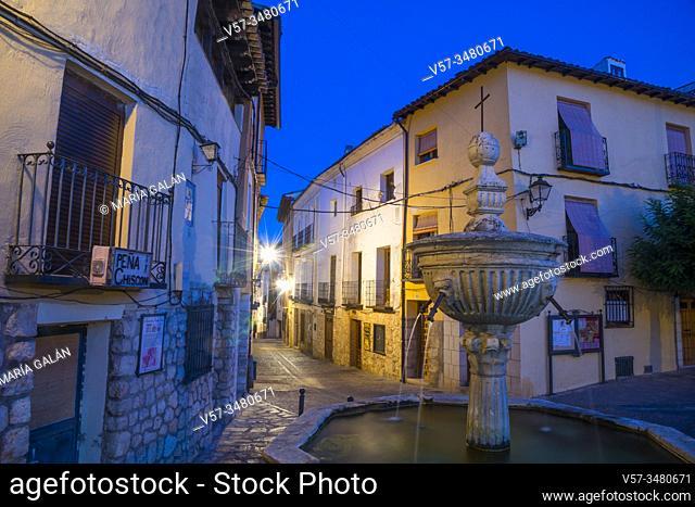 Cuatro Caños Square, night view. Pastrana, Guadalajara province, Castilla La Mancha, Spain