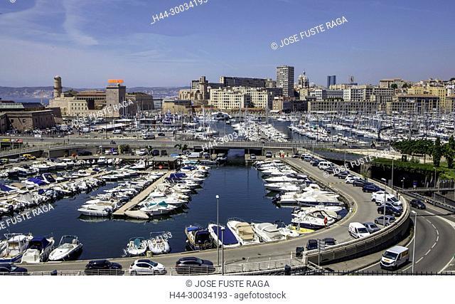 France, Marseille City, skyline, La Major Cathedral, Old port