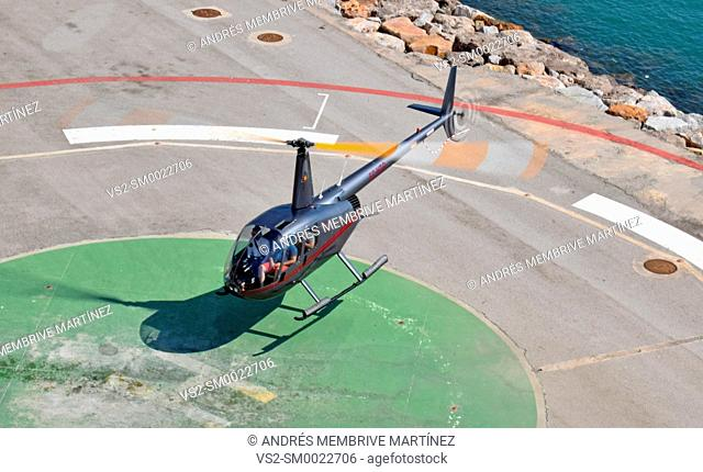 Helicopter landing in the port of Barcelona