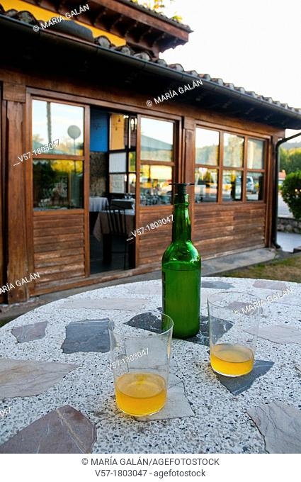 Two glasses of cider in a terrace. Asturias, Spain