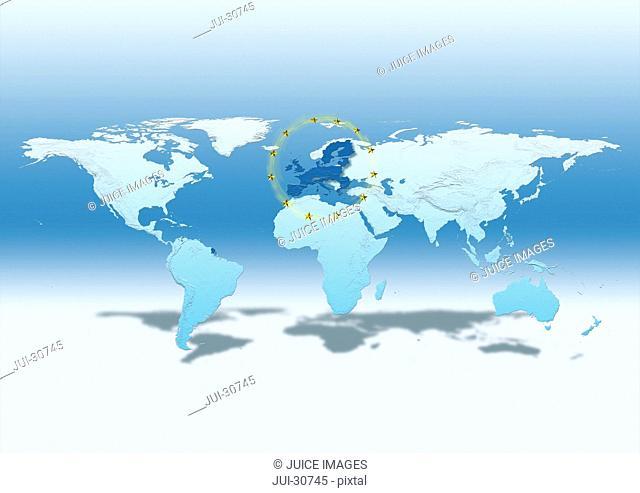 map, world, europe centered, blue, European Union, EU stars