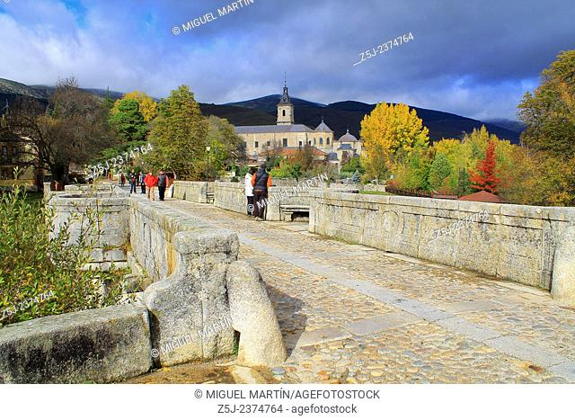 View over the monastery of El Paular from the Puente del Perdón (Bridge of the Pardon) in a cold Autumn morning; this bridge was the last point where convicted...