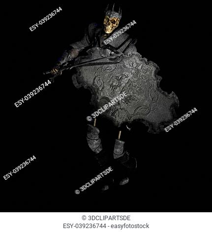 Skeleton with Armor and Shield and SwordWith Clipping Path / Cutting Path