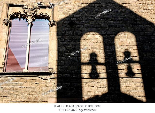 window, shadow of bell tower, Gothic Quarter, Barcelona, Catalonia, Spain