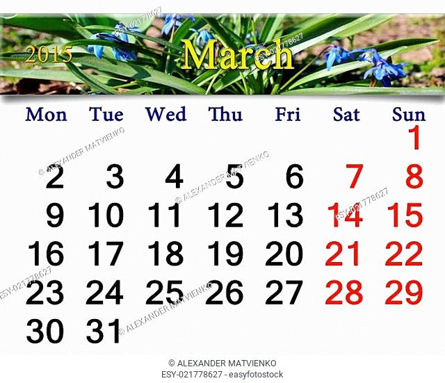 calendar for March of 2015 year with snowdrops
