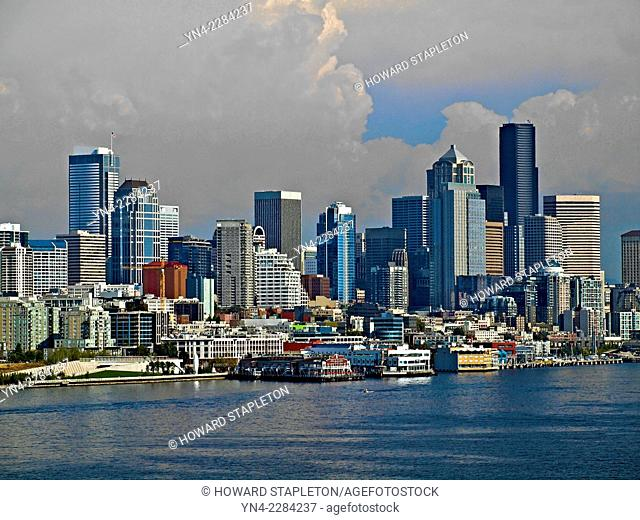 Seattle, Washington skyline from a ship in Puget Sound