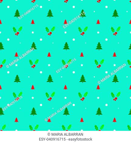 Christmas seamless pattern with trees, snowflakes and holly. Vector illustration