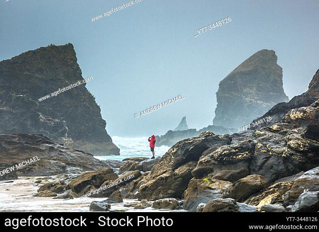 Bedruthan Steps, near Newquay, Cornwall, England, Great Britain, UK