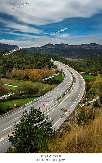 Elevated view of motorway, Viladrau, Catalonia, Spain, Europe