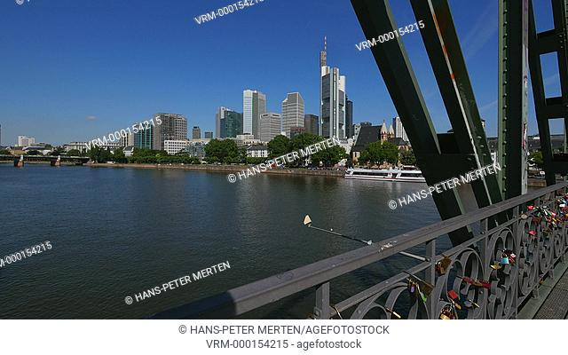 Eiserner Steg Bridge, Financial district and Main River, Frankfurt am Main, Hesse, Germany