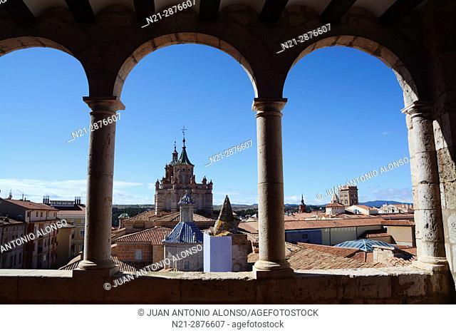 The Cathedral of Santa María de Mediavilla and partial view of Teruel from the Museo Provincial de Teruel. Teruel, Aragón, Spain, Europe