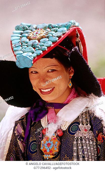 Typical Ladakh bride. Likkir. Jammu and Kashmir, India