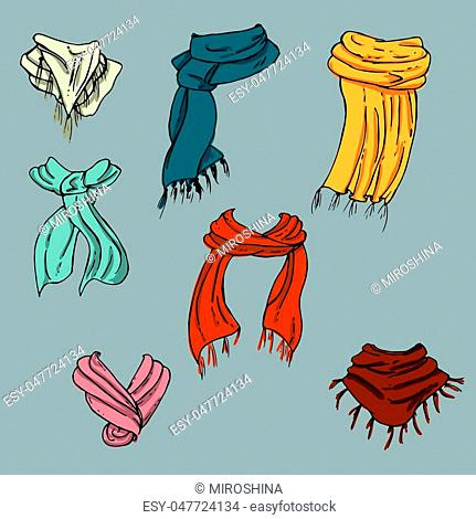 Fashion set. Various scarves. Illustration in hand drawing style