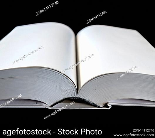 Open blank dictionary, book mockup, black background