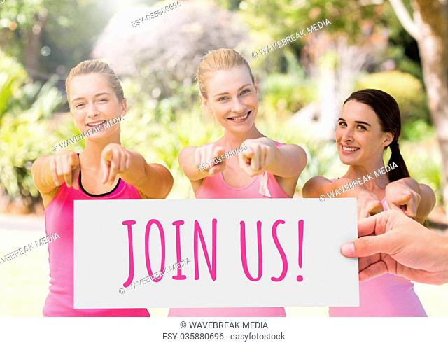 Join usText and Hand holding card with pink breast cancer awareness women