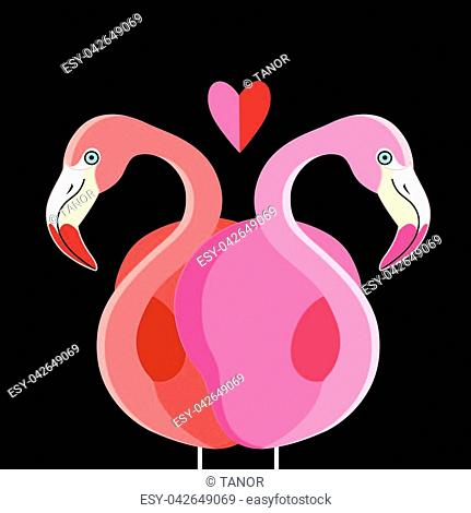 Festive card with pink flamingos for Valentine's Day
