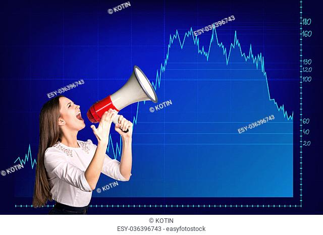 Beautiful business woman stands on the big graph background