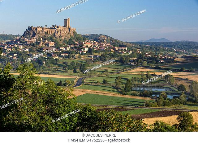 France, Haute Loire, feudal fortress of Polignac dated 11th century standing up on a basaltic mound