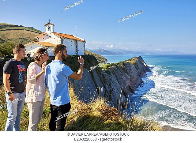 Guide with tourists, Tour, Flysch, Ermita de San Telmo, Zumaia, Basque Country, Spain, Europe