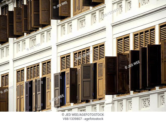 Windows at a row of restored shophouses, Bugis, Singapore