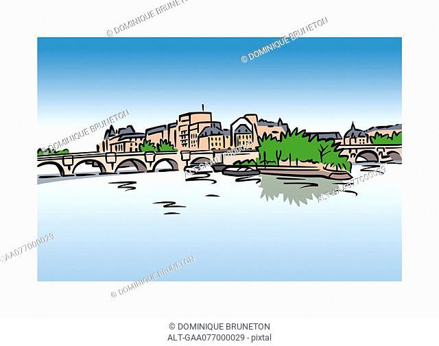 Illustration of Ile Saint-Louis, Paris, France