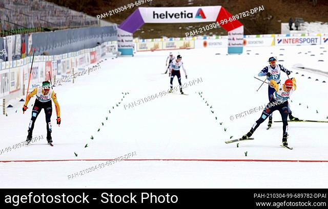04 March 2021, Bavaria, Oberstdorf: Nordic skiing: World Championships, combined, individual, large hill/10 km, men, cross-country