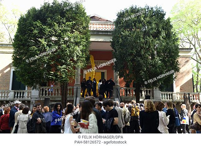 Visitors stand in front of the British pavilion at the Biennale in Venice, Italy, 06 May 2015. The 56th international art show 'La Biennale di Venezia 2015'...