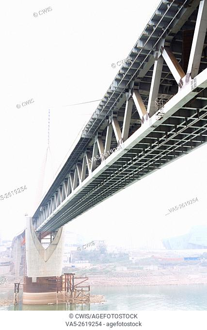 Chongqing, China - The view of Qiansimen bridge in the daytime